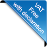 Image of VAT Free with declaration triangle in blue