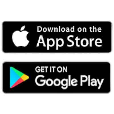 Images of Apple Store and Google Play logos