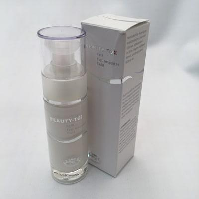 Image of bottle and outer box of Beauty-Tox Care Fast Response Fluid