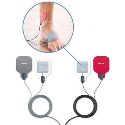 Image of a foot with skin electrodes attached