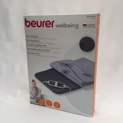Using Beurer HK 125 XXL Cosy Heat Pad in grey boxed (front)