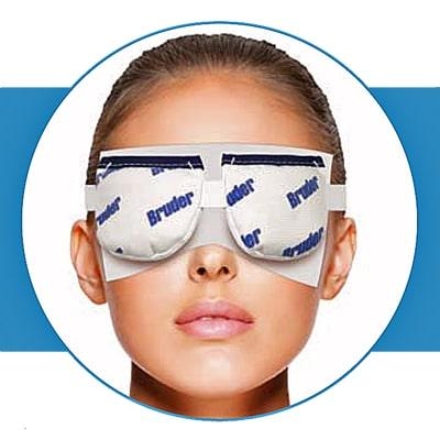 Bruder Hygienic Eyelid Sheets in use with Bruder Moist Heat Eye Compress