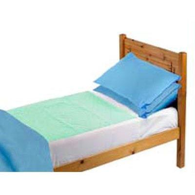 Image of green Drytex bed pad on a bed