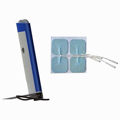 Image of evoStim T side view and skin electrodes