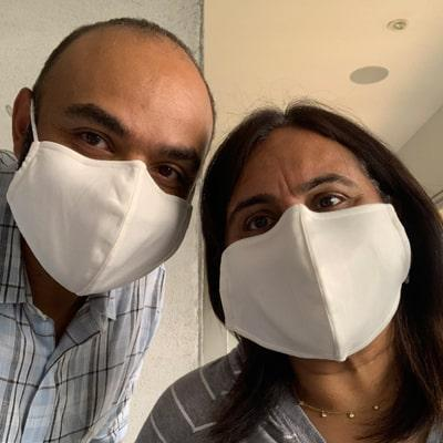 Image of 2 wearers of the Masksave Face Masks
