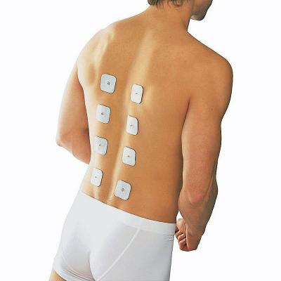 Beuerr EM 80 electrodes pads placed for upper back pain