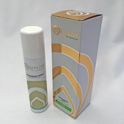 Image of the RENLIVE FLEXI Antioxidant Spray 75 ml container and box