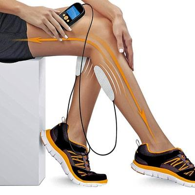 Whole body recovery electrode placed on calf muscles