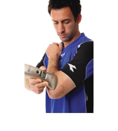 Treating elbow pain with B-CURE Laser.