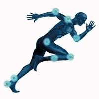 Image of a running man with tender body areas