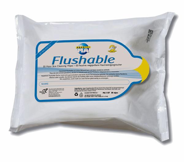 Flushable moist wipes